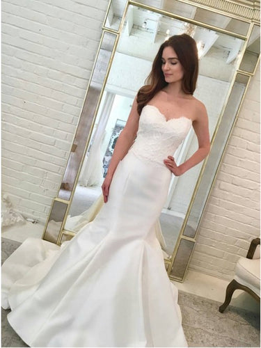 Simple Sweetheart Mermaid Wedding Dresses with Appliques OW624
