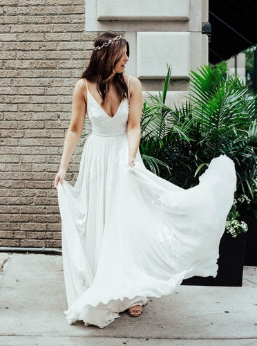 Flowy A-Line Spaghetti V-neck Chiffon Wedding Dresses Beach Bridal Dress OW502