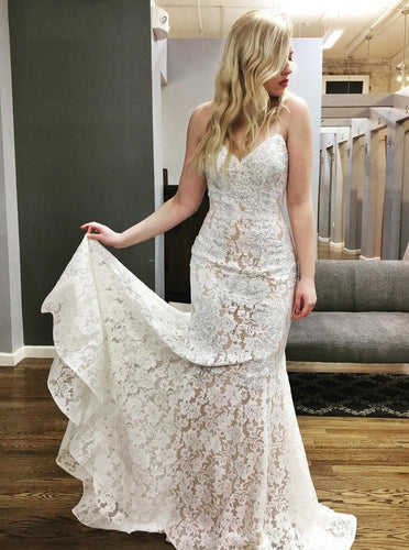 Mermaid Sweetheart Lace Wedding Dresses, Lace Bridal Gown With Beading OW623