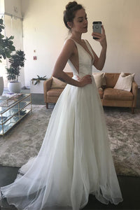 A-Line/Princess Plunge Neckline Ruched Tulle Wedding Gown OW290