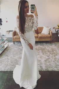 Off-The-Shoulder Lace Long Sleeves Mermaid Wedding Dress OW504