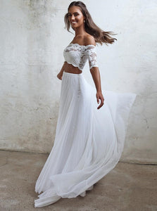 Boho Off Shoulder Lace Wedding Dresses Two Piece Bridal Gown OW602