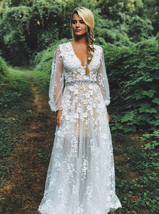 V-Neck Waist Beaded Appliques Boho Wedding Dress with Long Sleeves OW595