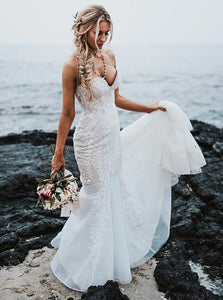 Mermaid Sweetheart Lace Appliques Beach Wedding Dress OW599
