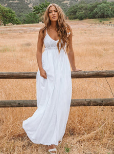 Spaghetti Straps Chiffon Backless Wedding Dress, A-Line Beach Bridal Gown OW604