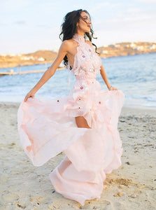 Pink Halter Appliques Beach Wedding Dress Backless Wedding Gown OW603