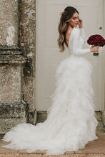 Princess Bateau Long Sleeves Tulle Wedding Dresses With Ruffles OW597