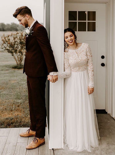 A-Line Round Neck Lace Long Sleeves Chiffon Wedding Dresses OW604