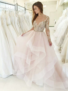 Princess Pink Bateau Long Sleeves Wedding Dresses with Appliques OW598