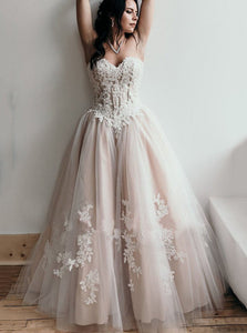 Sweetheart Tulle Wedding Dress Rustic A-line Appliques Bridal Gown OW393