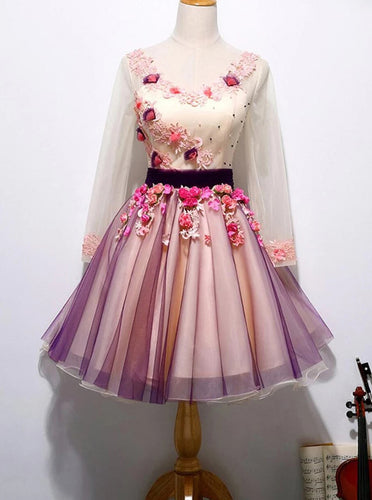 Chic 3D Floral Homecoming Dress Long Sleeve Tulle Short Prom Dress OM557