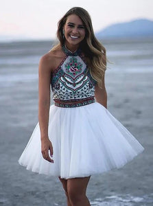 A-line Halter White Tulle Two Piece Homecoming Dress With Embroidery OM552