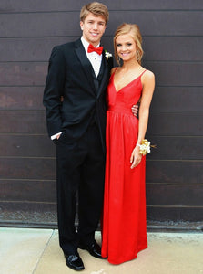 Simple Red Prom Dresses A-Line Spaghetti Straps Backless Evening Gown OP761