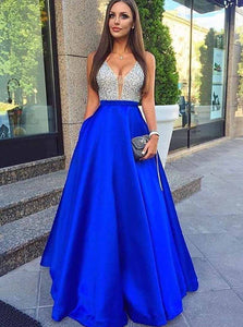 Royal Blue A-Line Deep V-Neck Beading Long Prom Dresses With Pockets OP762