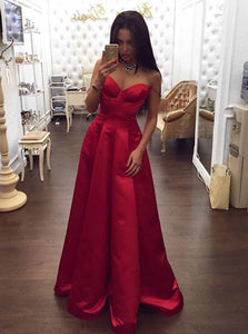 A-Line Spaghetti Sweetheart Red Satin Long Prom Dresses with Ruched OP763