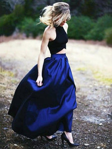 Elegant A-line Two Piece Halter Royal Blue Satin Prom Dresses OP764