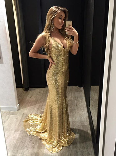 Sparkly Sequins Spaghetti Straps Backless Gold Mermaid Prom Dress OP773