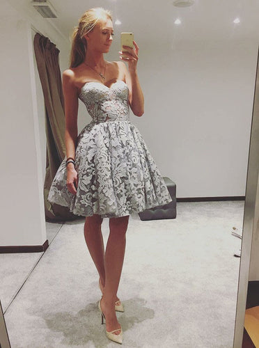 Chic Sweetheart Gray Lace Short Prom Dresses Homecoming Dress OM336