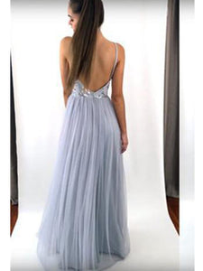 Spaghetti Straps Tulle Long Prom Dress, Sexy Backless Evening Dress, OP126