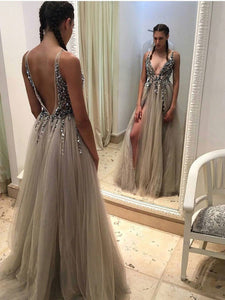 Plunging Neckline Long Prom Dress Sequins Sexy Slit Backless Evening Dress,OP130
