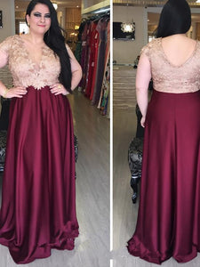 V-neck Sexy Satin Plus Size Prom Dress With Applique, Long Evening Dress UK Sale, OP131