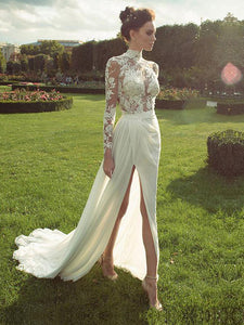 Gorgeous Lace Long Sleeve High Neck Chiffon Wedding Dress With Side Slit, OW313