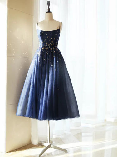 Sparkly A Line Short Starry Night Prom Dress, Sexy Spaghetti Straps Party Dress, OP132