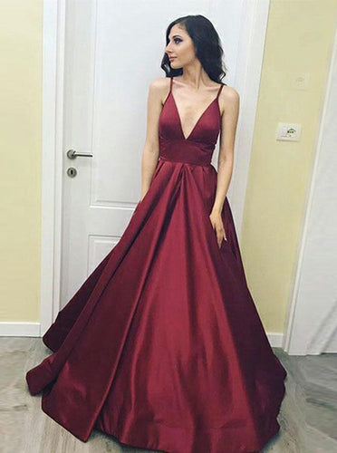 A-Line Deep V-Neck Satin Burgundy Long Prom Dress With Pockets OP776