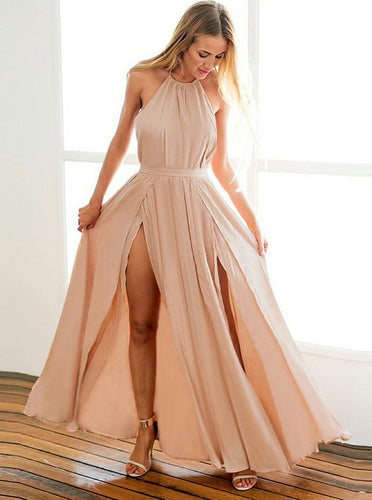 A-Line Halter Blush Prom Dress, Backless Chiffon Evening Gown OP777