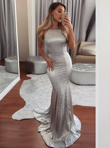 Sequins Mermaid Halter Silver Prom Dress, Backless Formal Evening Dresses OP779