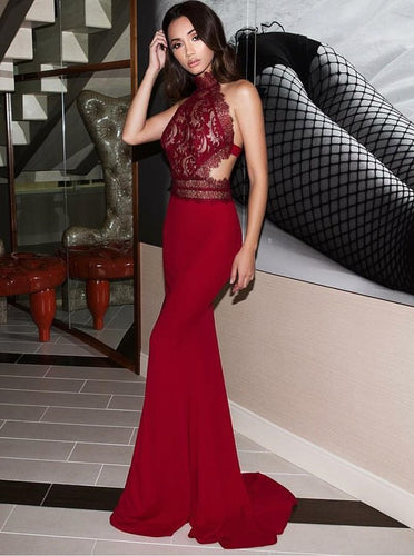 High Neck Open Back Dark Red Lace Prom Dress, Mermaid Evening Gown OP782
