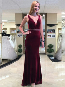 Sheath V-Neck Burgundy Beading Prom Dress, Backless Evening Gown OP785