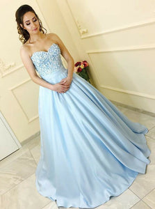 A-Line Sweetheart Light Blue Ball Gown Prom Dress with Appliques OP787