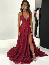 Backless Lace Prom Dresses Burgundy Sexy Evening Gown With Slit OP845