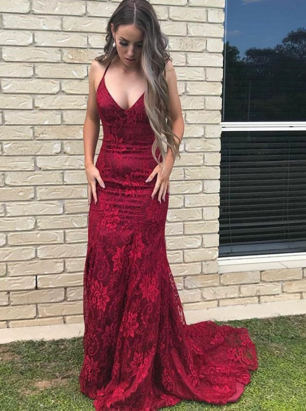 Spaghetti Burgundy Prom Dresses Lace Mermaid Long Evening Dresses OP846