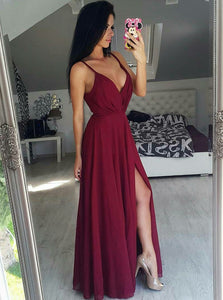 Simple Chiffon Burgundy Long Prom Dress Spaghetti Straps V-neck With Split OP1025