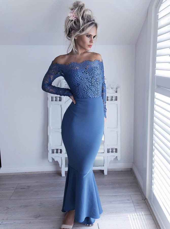 Mermaid Off-Shoulder Lace Long Sleeves Hi-Low Blue Bridesmaid Dress OB221