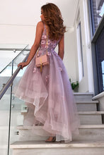 A-Line V-neck Hi-Lo Lilac Prom Dresses 8th Graduation Dress with Flowers OP822