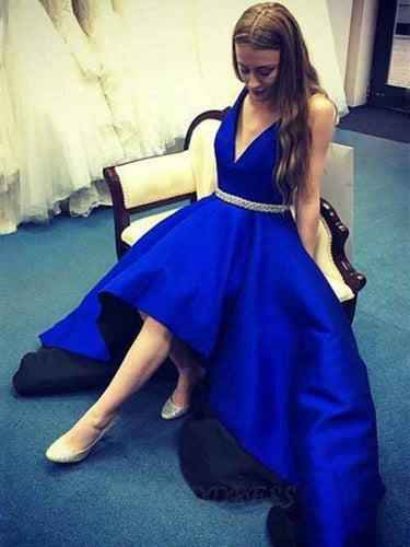 Royal Blue Satin A-Line Deep V-Neck High Low Prom Dress with Belt OM416