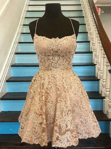 Spaghetti-straps Square Neck Lace Short Prom Homecoming Dress OM334