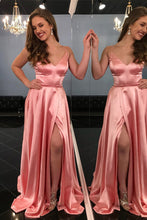 Coral Long Prom Dress Spaghetti Straps, Sexy Slit Formal Gown OP635