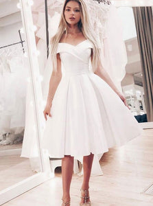 Simple White A-Line Off-the-Shoulder Short Prom Dress with Pleats OM140