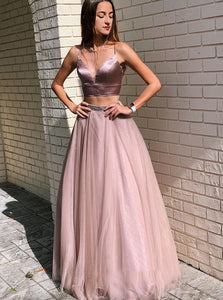 Sexy Spaghetti Straps Two Piece Prom Dresses With Beading PO045