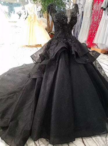 Cap Sleeves Black Ball Gown Prom Dresses, Long Bridal Dress with Beads OP877