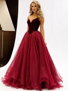 A-line Sweetheart Burgundy Tulle Long Prom Dress with Ruched OP159