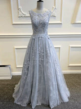 Charming A-line Princess Backless Long Prom Dress with Appliques, OP160