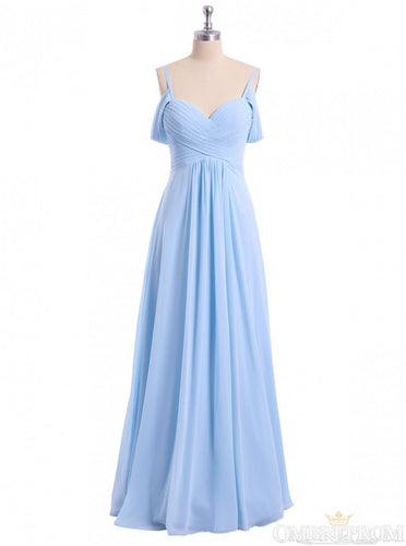 Chiffon Sky Blue Long Bridesmaid Dress, Off Shoulder Spaghetti Prom Dress OB276
