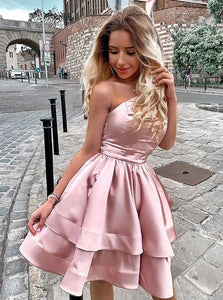 Strapless Blush Semi Homecoming Party Dresses With Tiered Skirt OM525