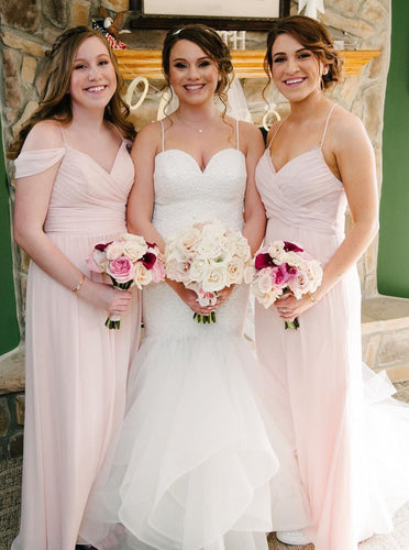 Flowy Straps V neck Pink Chiffon Long Bridesmaid Dresses OB309