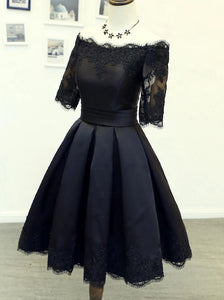 Black Short Homecoming Dresses Half Sleeve Off Shoulder Party Dress OM535